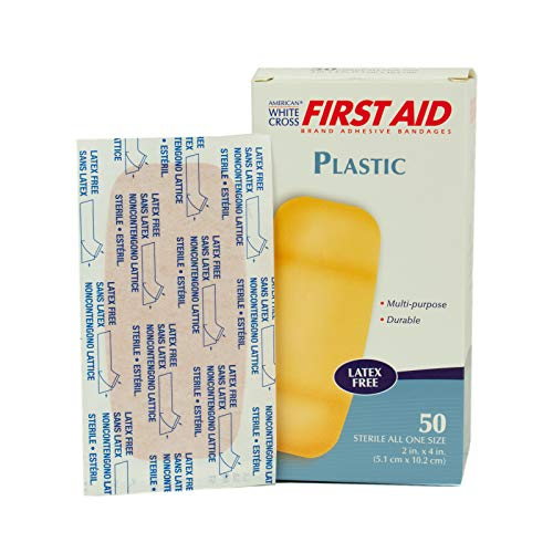 American White Cross First Aid Plastic Adhesive Bandages, Latex Free Bandages, X-Large Strips, 2' x 4', 50 Per Box