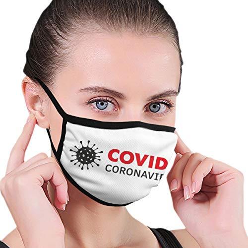 Design with Illustration Coronavirus Covid Illustration Infographic Face Protection Reusable Bandana 2 Layers Fabric Head Scarf Washable Neck Gaiter Earloop Black