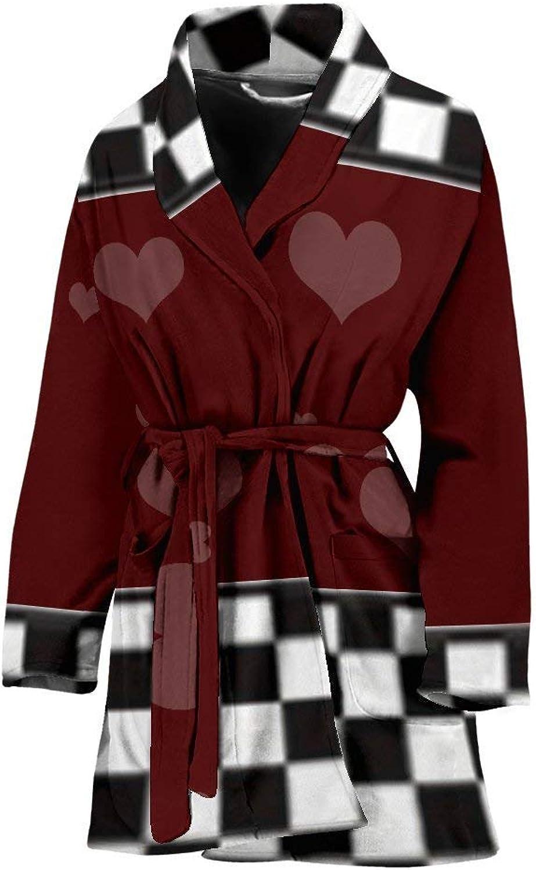 Deruj Heart Print Women's Bath Robe