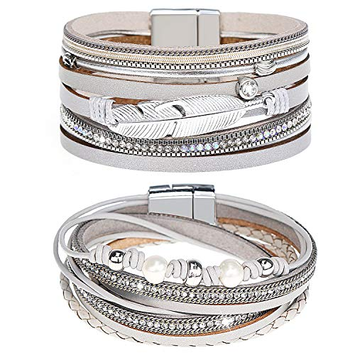 Gleamart Silver 2 Pieces Multilayer Leather Bracelet Set Beads Wrap Bangles with Magnetic Buckle for Women 03
