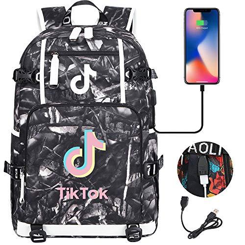 ACJIA Laptop-Rucksack, Tik TOK Stilvolle College School Rucksack mit USB-Anschluss Aufladen, Lässige Daypack für Frauen/Mädchen/Geschäft/Reisen,J
