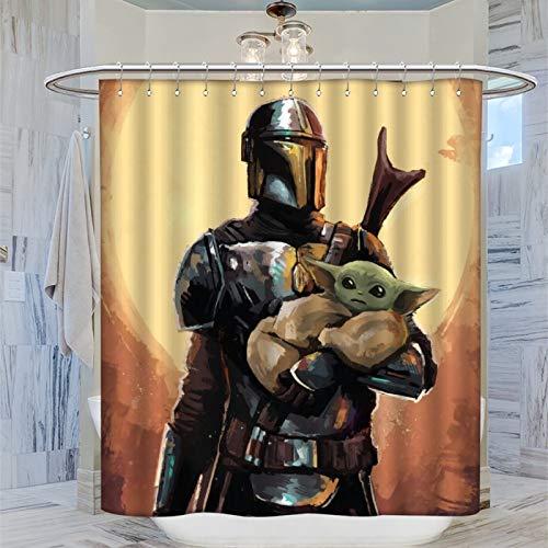 Dekorativer Duschvorhang für Spa / Hotel / Badezimmer, Motiv: Star Wars Day Mandalorianischer Stil, wasserdicht, 183 x 183 cm