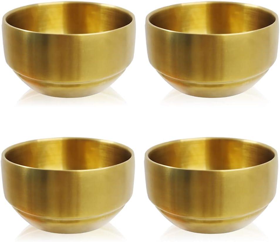 Paquete de 4 cuencos gruesos de acero inoxidable 304, pequeños cuencos de arroz de doble pared, cuenco de sopa de acero inoxidable, cuencos de metal para ensalada, frutas (oro, 10,5 cm)
