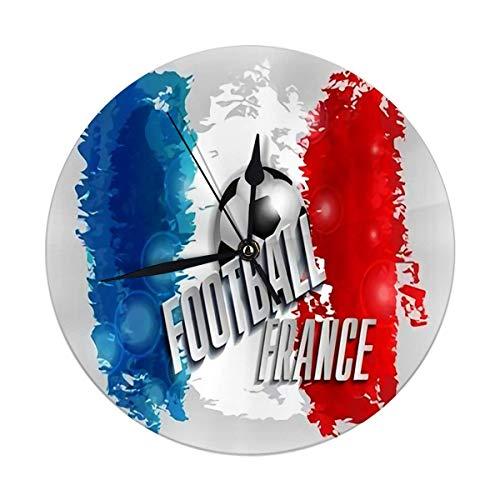FETEAM Reloj de Pared Redondo Decorativo Moderno Balón de fútbol Bandera de Francia Texto ro París Barco de fútbol Funciona con Pilas 9.8IN