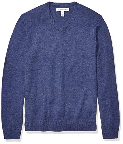 Amazon Essentials Men's Midweight V-Neck Sweater, Blue Heather, Medium