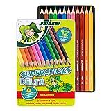 Jolly Superstick Buntstifte DELTA | Dreikant Farbstifte | Kinderfest und Bruchsicher | Ungiftig | 12 Stück im Metalletui