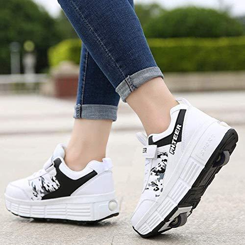 XPF Zapatos con Ruedas Patines De Ruedas Patines En Línea Zapatos De Exterior Gimnasia Zapatillas De Moda para Niños Niñas Adultos Jóvenes,WhiteDoubleWheel-40