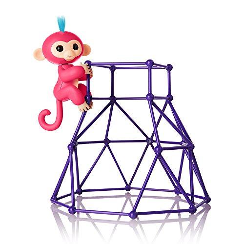 Fingerlings Spielset Kletterturm und Äffchen rot mit blauem Haar Aimee 3732 interaktives Spielzeug, reagiert auf Geräusche, Bewegungen und Berührungen