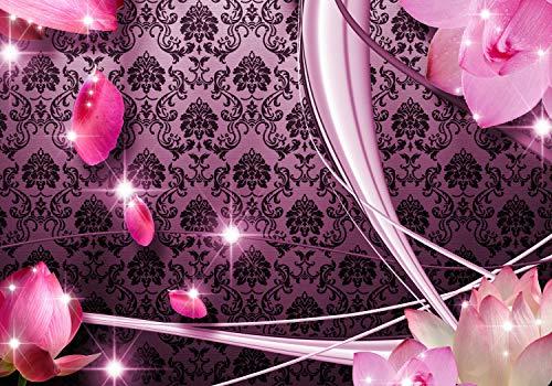 wandmotiv24 Fototapete Blüten Rosa Ornament, S 200 x 140cm - 4 Teile, Fototapeten, Wandbild, Motivtapeten, Vlies-Tapeten, Blumen, Abstrakt, Muster M1596