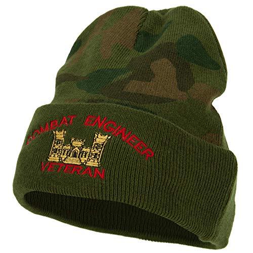 e4Hats.com Combat Engineer Veteran Logo Embroidered Camo Knit Long Cuff Beanie - Green OSFM