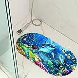 Sticker Superb Karikatur Schildkröte Delfin Löwe Blume Liebe Wanneneinlage Anti-Rutsch Badematte PVC, Badewanne Duschmatte für Kinder Baby, Badewannenmatte mit Saugnäpfen (Mehrfarbig 5)