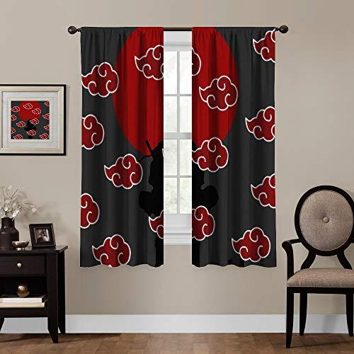 Blackout Curtains,Naruto Akatsuki Logo, Rod Pocket Thermal Insulated Darkening Window Drapes for Bedroom, Cute Animal Boys Girls Room Décor,W'27.5X w'39 inch, 2 Panels