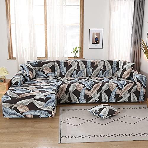 PPOS Funda elástica para sofá esquinero para Sala de Estar Sillón Sofá Gris Sofá seccional Funda para Chaise Lounge con península D10 4 plazas 235-300cm-1pc