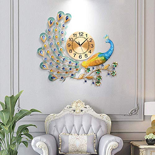 ZHIRCEKE Unique 3D Crystal Peacock Wall Clock Peacock Shape Non Ticking Silent Clock for Living Room Bedroom Decor