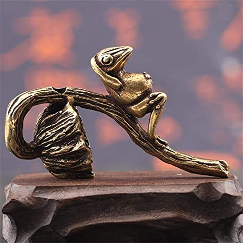 Adornos de rana de semillas de loto de latón retro Estatuas de animales de cobre puro Té en miniatura Mascotas Figuras de oro antiguo Accesorios de decoración del hogar Quemador de incienso (Color: A)