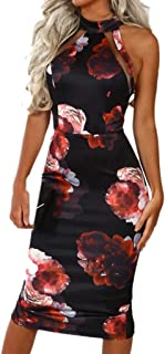 Bodycon Midi Dress Women Off Shouder Blooming Babe Floral Dip Hem Evening Dress Red
