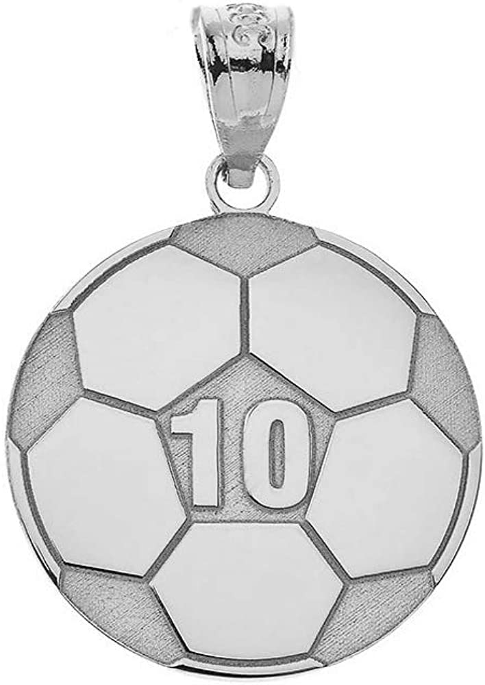 Sports Charms Certified 14k White Gold Customized Soccer Ball Pendant with Your Name and Number