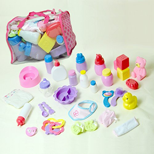 The New York Doll Collection Baby Doll Care Set -30 Pieces Baby Doll Care Set -Doll Accessory Set in a Bag - Doll Feeding Set - Great Doll Gift for Girls