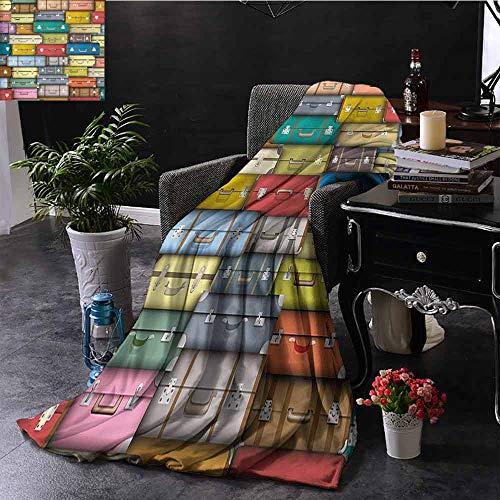 GGACEN bont deken Kleurrijke koffers Achtergrond Vintage Reizen Vakantie Thema Kunstmatig Ontwerp Warm Deken voor Herfst Winter