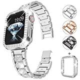 Choiche Bling Series Compatible Apple Watch Band 38mm 40mm 42mm 44mm Series 5/4/3/2/1 for Women, Shining Rhinestone Case + Diamond Stainless Steel Metal Bracelet Strap for iWatch (Silver, 42mm)