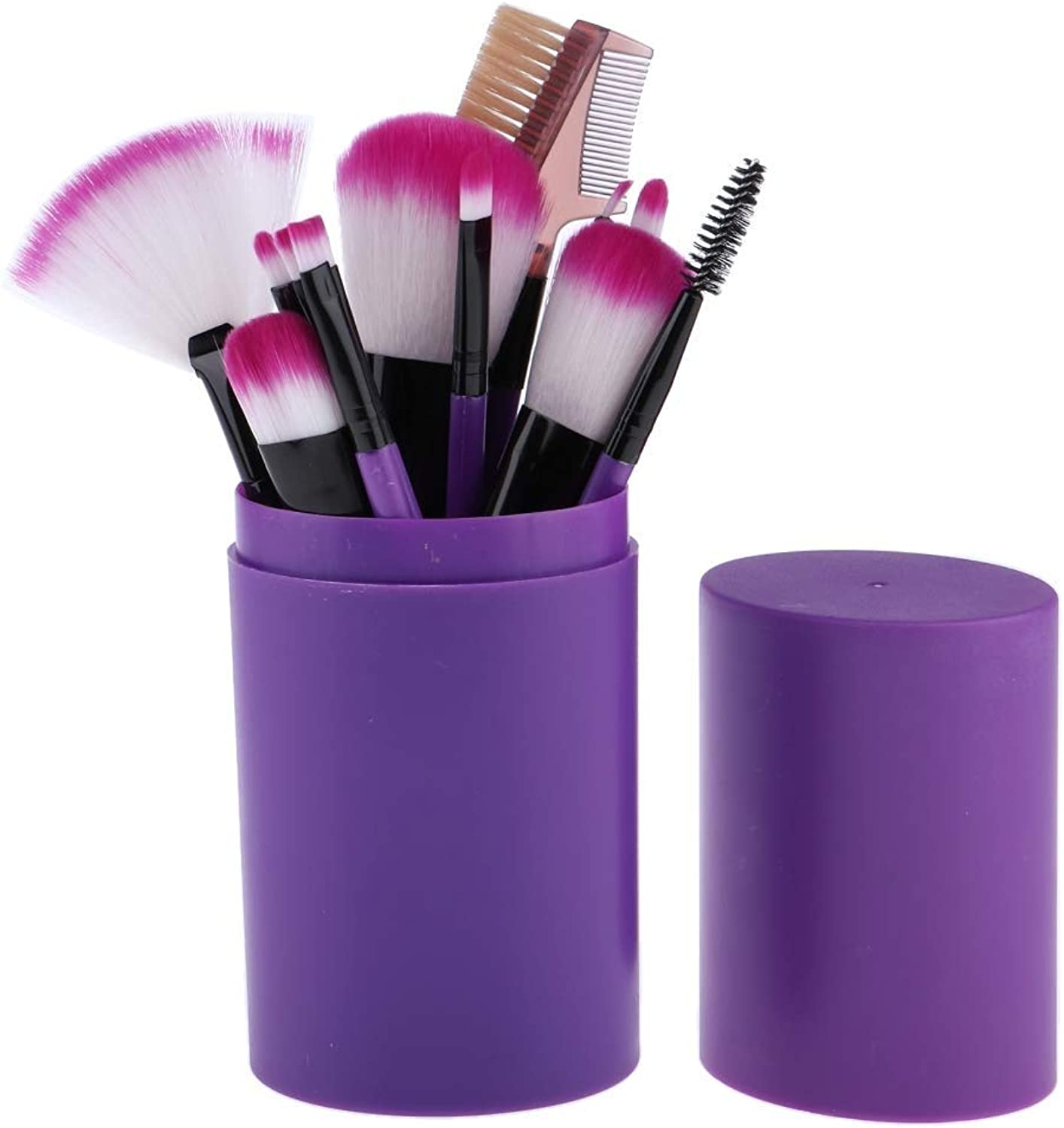 Fashion 12pcs Set Makeup Brushes with HolderPurple for Concealer, Foundation, Blending, bluesh, Eye Shadow, Eyebrows, Eyeliner and Lips, Etc Purple Pretty (color   Purple, Size   19  9  9)