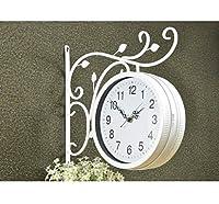 掛け時計 両面壁掛け時計ヴィンテージ屋内ブラケット鍛造鉄駅スタイルラウンドクロックシンプルなデザインのリビングルームの装飾 置時計 (Color : B)