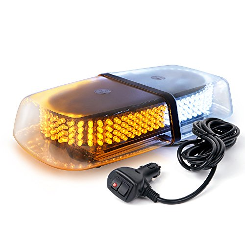 Xprite 240 LED White&Amber Roof Top LED Emergency Strobe Lights Mini Bar for Cars Trucks Snow Plow Vehicles Warning Caution Lights w/Magnetic Base