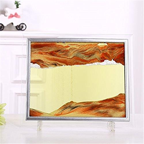 PROW® Pintura dinámica de la arena de la visión 3D con el marco de cristal Moviendo la arena del arte de la arena de arena Sandscape Moviendo la imagen del con el líquido amarillo
