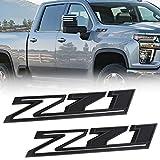 JINGSEN 2PC Z71 Emblems 2019 to 2021 replacement Silverado 1500 2500 3500 decal badge 84632695 nameplate OEM(Matte Black)