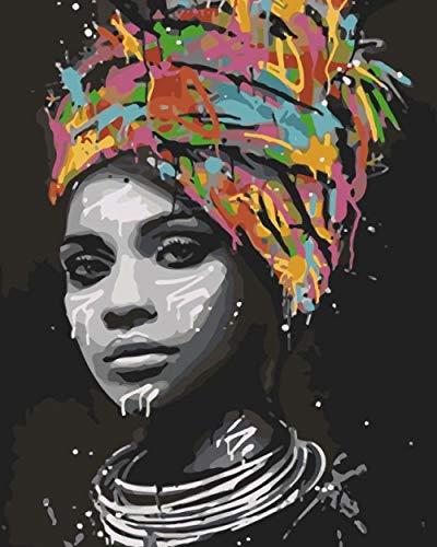Malen Nach Zahlen Erwachsene Kinder Anfänger DIY Malen Nach Zahlen Kit zur Wandkunst Heimdekoration - Ohne Rahmen 40 x 50 cm Bunte Turbanfrau