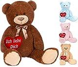 Brubaker XXL Teddybär 100 cm Braun mit einem Ich Liebe Dich Herz Stofftier Plüschtier Kuscheltier