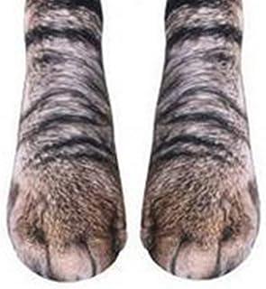 2 calcetines con diseño de huellas en 3D para adultos, diseño de huellas sublimadas, diseño de huellas de gato, patas de animales, calcetines de tripulación, 1 par de calcetines de huel