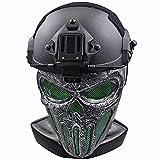AQzxdc Casco Táctico Combinado, con Máscara de Paintball Calavera de Cara Completa con Gafas Malla...
