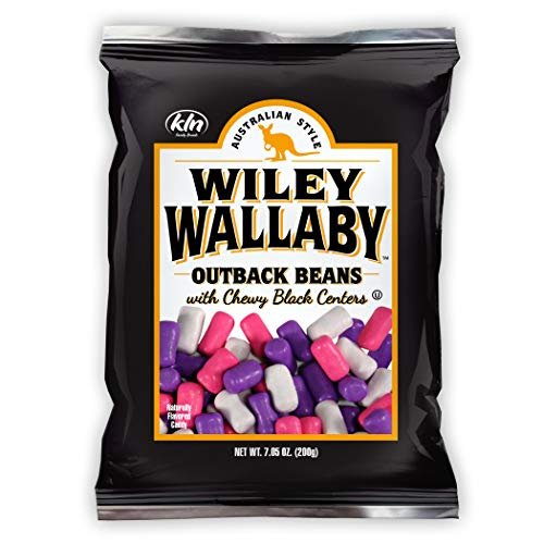 Wiley Wallaby Classic Black Licorice Beans, 7.05 Ounce Resealable Bags, 12 Count