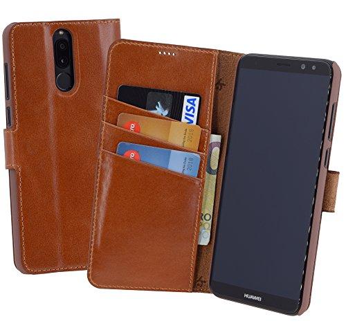 Suncase Book-Style (Slim-Fit) voor Huawei Mate 10 LITE Leren tasje Leren tasje Telefoonhoesje Beschermhoesje Case Hoesje (met standaardfunctie en kaartenvak), cognac