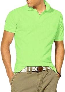 Macondoo Men's Button Short Sleeve Tee Sport Slim Polos Shirts T-Shirts 7 XL