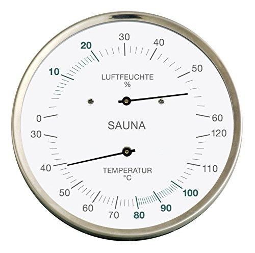 Fischer Sauna Thermometer und Hygrometer, 160 mm, Edelstahl, 195-01