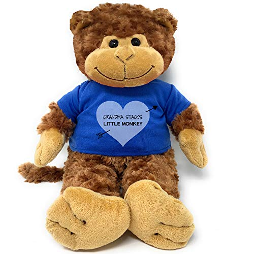 PaperGala Personalized Valentine's Day Plush My Little Monkey + Name Custom Gift for Girlfriend Boyfriend with Name on Shirt (Large 16')