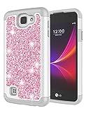LG Rebel LTE Case, LG Optimus Zone 3 Case, LG Spree Case, LG K4 Case for Girls, Jeylly Glitter Luxury Crystal Dual Layer Shockproof Hard PC Soft TPU Inner Protector Case Cover for LG K4 - Rose Gold