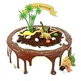 16-teiliges Set mit lustigen Dschungel-Dinosaurier-Kuchendekorationen für Kindergeburtstag