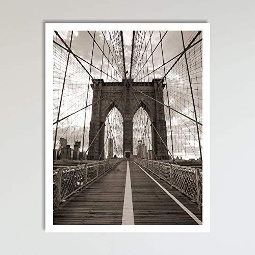 Brooklyn Bridge New York City Black and White Wall Art Decor Art Print Poster Modern Contemporary Boho Home Decor 11x14 Inches, Unframed
