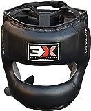 Boxeo Sombrero MMA Cara Completa Protector De Karate Cuero Muay Thai (Black, S/M)