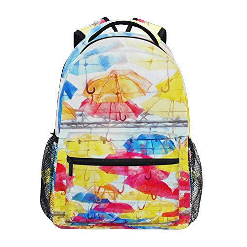 BOOBERT Colorful Umbrellas in Sky School Backpack College Laptop Book Bag Casual Hiking Daypack for Boys Girls Teens Women Outdoor Travel Camping