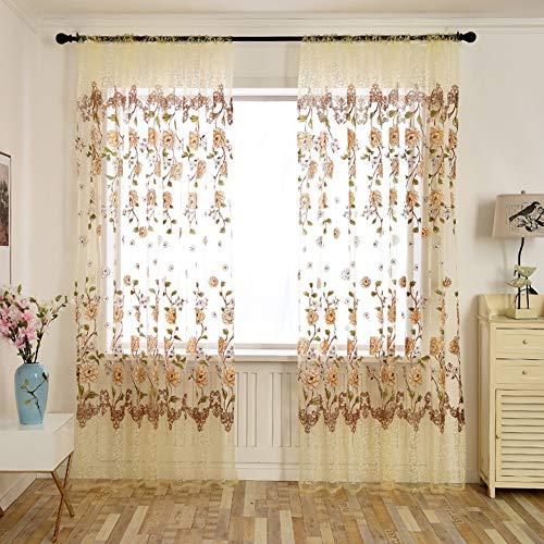 Leoie binnenafscheidingswand pioenrozenpatroon, de dunne raam-tule gordijnroede Art bedrukt beige koffiekleur 100 * 200 cm