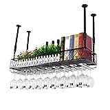 Racks de vin Hauteur réglable Plafond monté Porte-Bouteille de vin en métal Fer Verre à vin Grille gobelet Rack étagères...