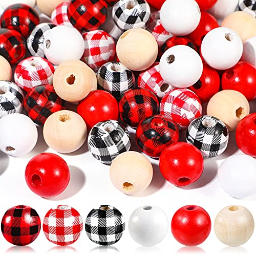 180 Pieces Craft Wood Beads Buffalo Plaid Print Wooden Beads Polished Spacer Beads Natural Handmade Round Beads Colorful Wooden Craft Beads for DIY Crafts Home Garland Decor (Beautiful Color)