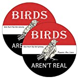 2 Pack Birds aren't Real Funny Bumper Stickers 5 Inch Diameter,Decals for Car Bumper Laptop Trucks Toolbox Window Waterproof and UV Fade Car Décor.