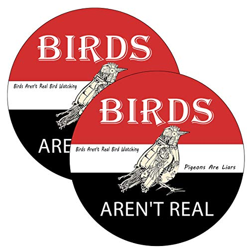 2 Pack Birds aren t Real Funny Bumper Stickers 5 Inch Diameter,Decals for Car Bumper Laptop Trucks Toolbox Window Waterproof and UV Fade Car Décor.