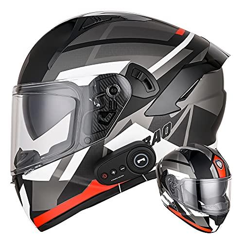 Casco integral Bluetooth para motocicleta con Doble lente antivaho certificado D.O.T Cascos abatibles de motocicleta Negro mate para adultos para Cruiser Chopper (Tormenta de plata) (61~62cm XL)