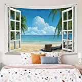 OFila 59.1x39.4 Inch Tropical Beach Tapestry Window Scenery Summer Ocean Beach Island View Palm Tree Leaf Hawaii Style Tapestry Wall Hanging for Home Bedroom Living Room College Dorm Decoration